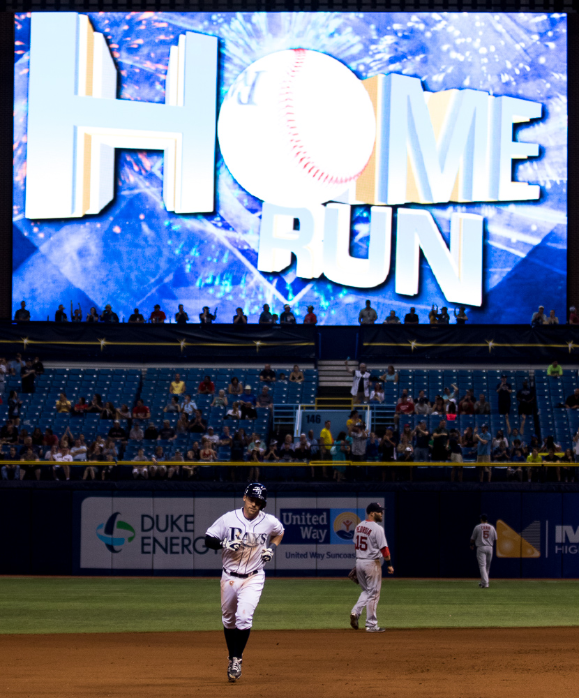 Elmore hit a home run in his first at-bat as a Rays player./ANDREW J. KRAMER