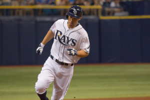 Grady Sizemore rounds third base after getting the Rays on the board./JEFFREY S. KING