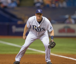 Krause drove in a run during his Rays' debut./JEFFREY S. KING