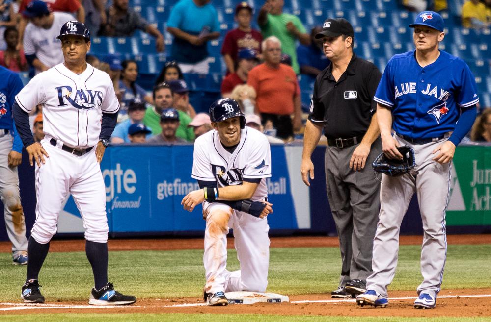 Longoria was stranded on base in the Rays' 10th inning./ANDREW J. KRAMER