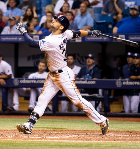 Both of Kiermaier's hits were doubles./ANDREW J. KRAMER