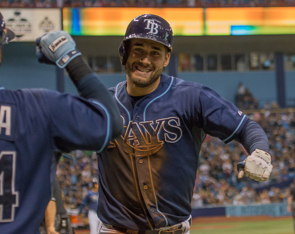 Kiermaier celebrates his home run and an early lead./JEFFREY S. KING