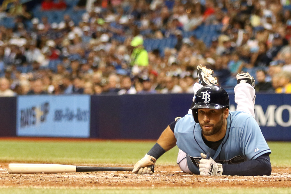 Kiermaier dodges a tight pitch./ANDREW J. KRAMER