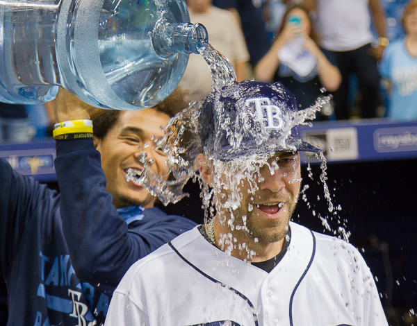 Nick Franklin gets a bath from Chris Archer./JEFFREY S. KING