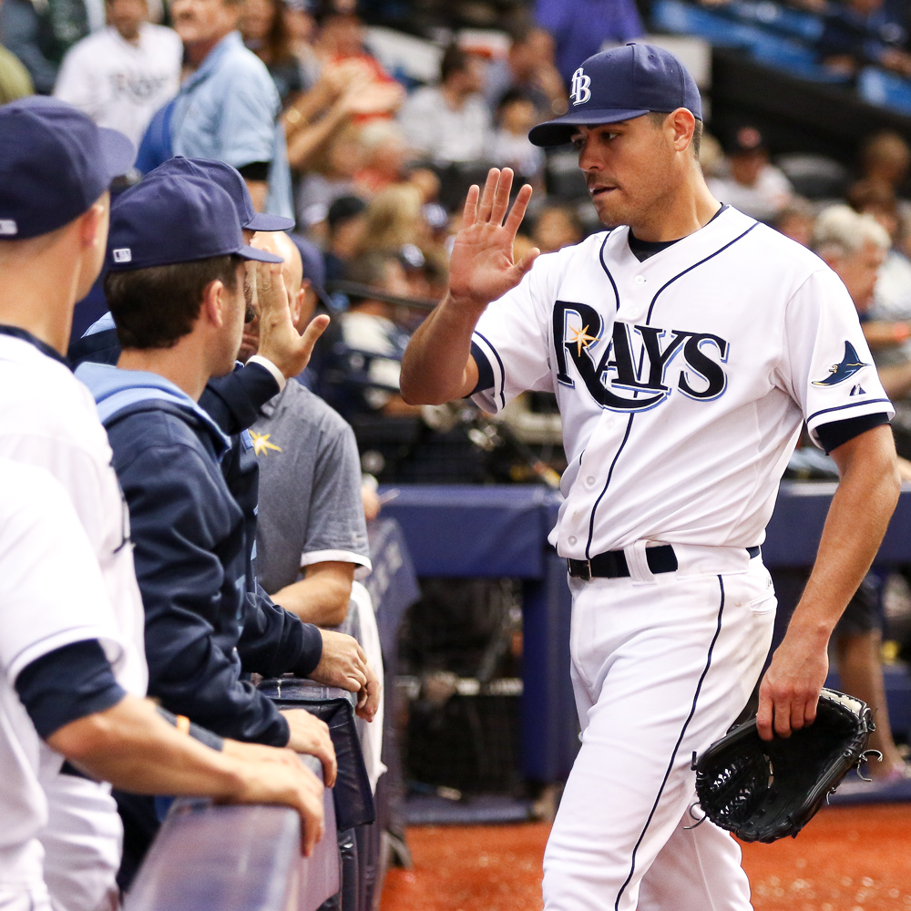 The Rays bench was glad to see Moore return to his old dominance, too./ANDREW J. KRAMER