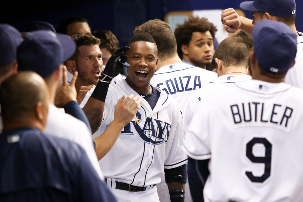 Beckham reacts after putting the Rays on the board with a 2-run home run in the 2nd./ANDREW J. KRAMER