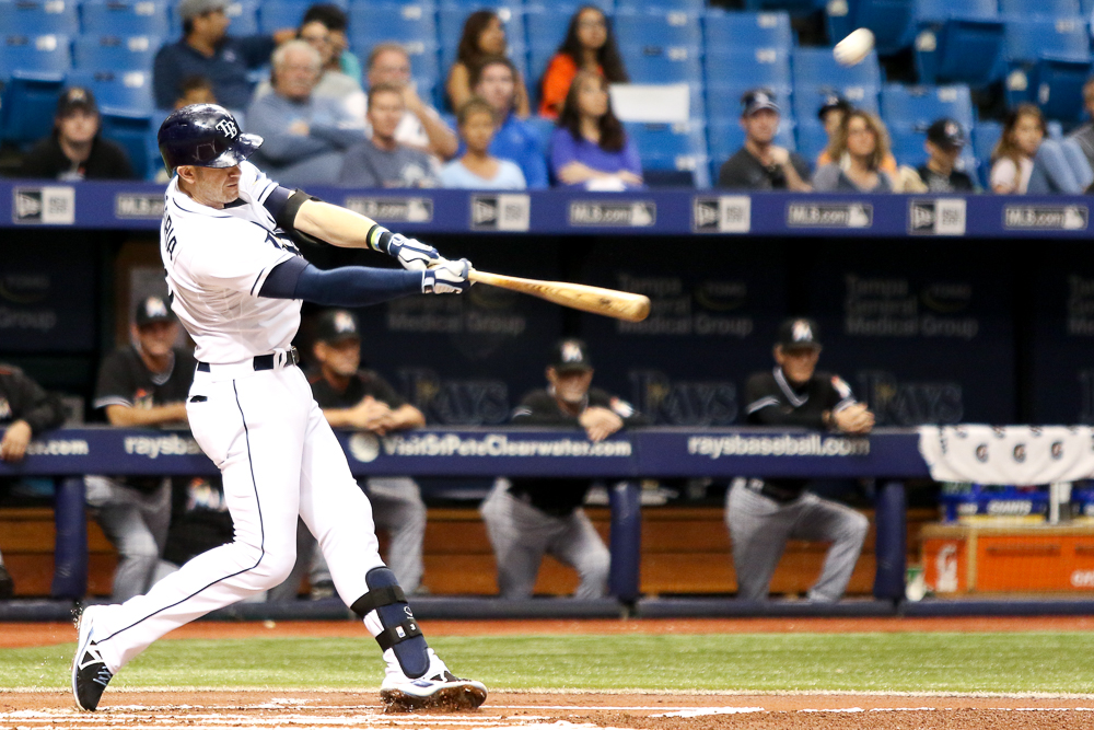 Longoria opens the first inning with a 380-foot homer to left./ANDREW J. KRAMER