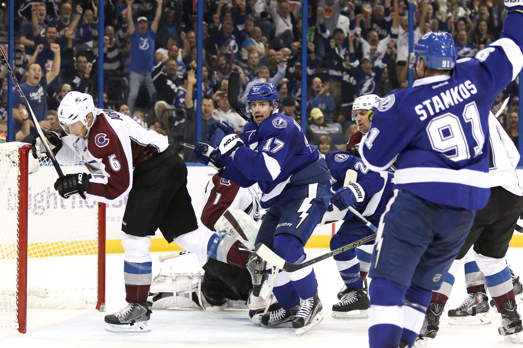 Killorn reacts after sneaking the puck past Varlamov in the second period./ANDREW J. KRAMER