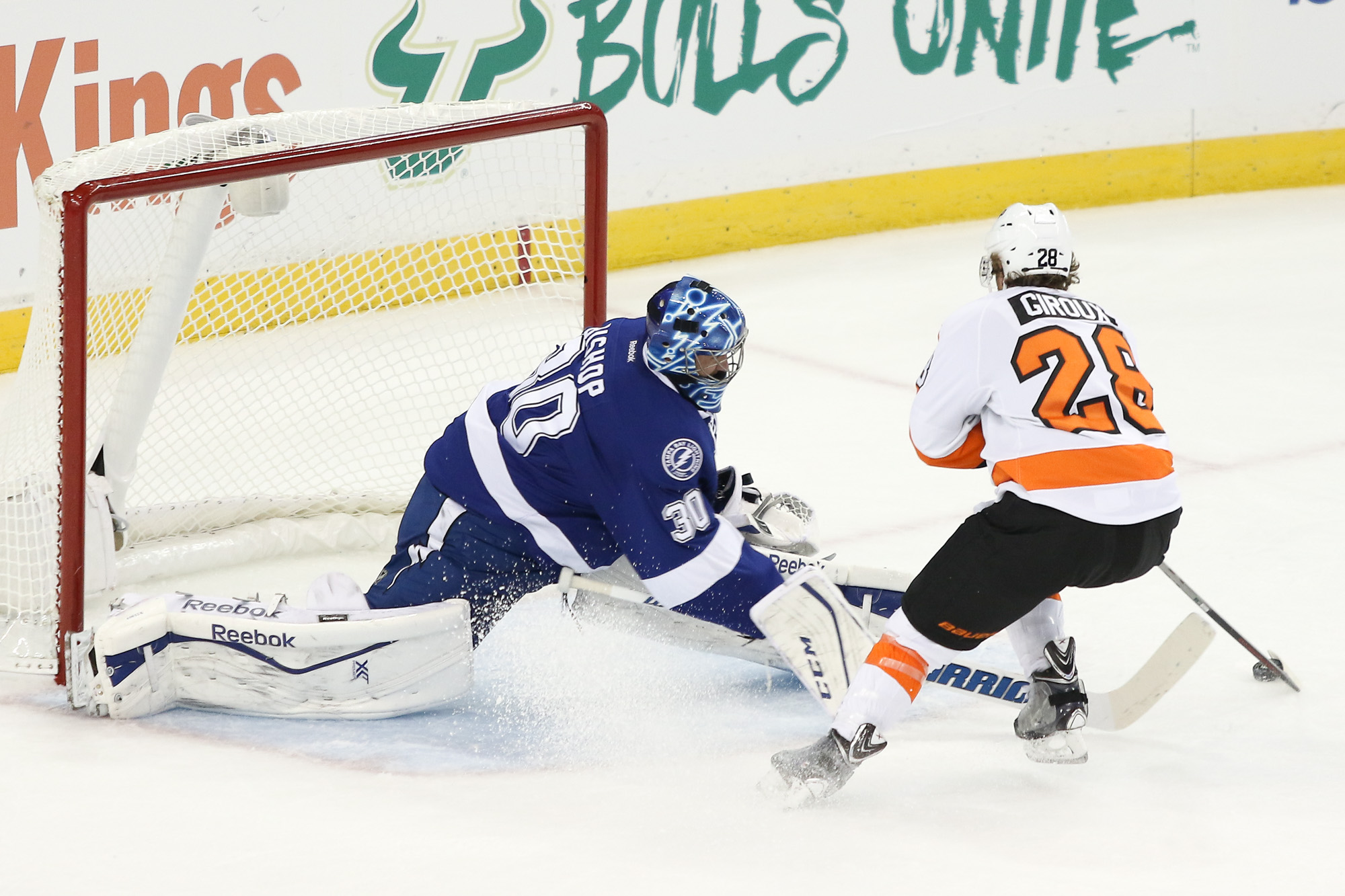 Bishop blocks Giroux's penalty shot in the first period./Andrew J. Kramer