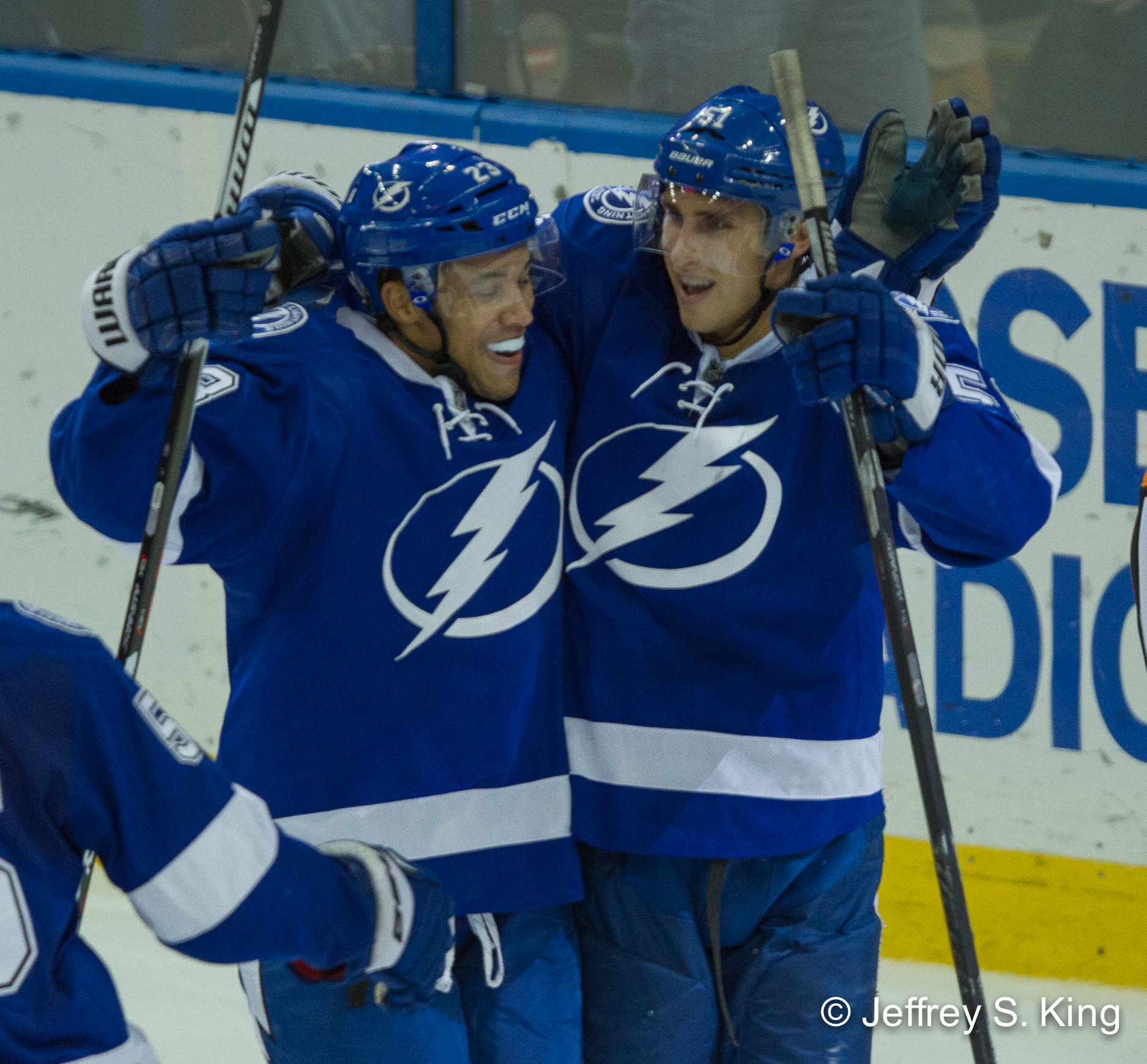 Brown, Filppula celebrate their winning goal.