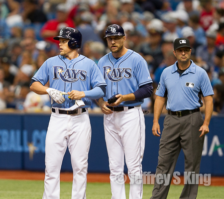 Brandon Guyer visited first base coach Rocco Baldelli a lot.