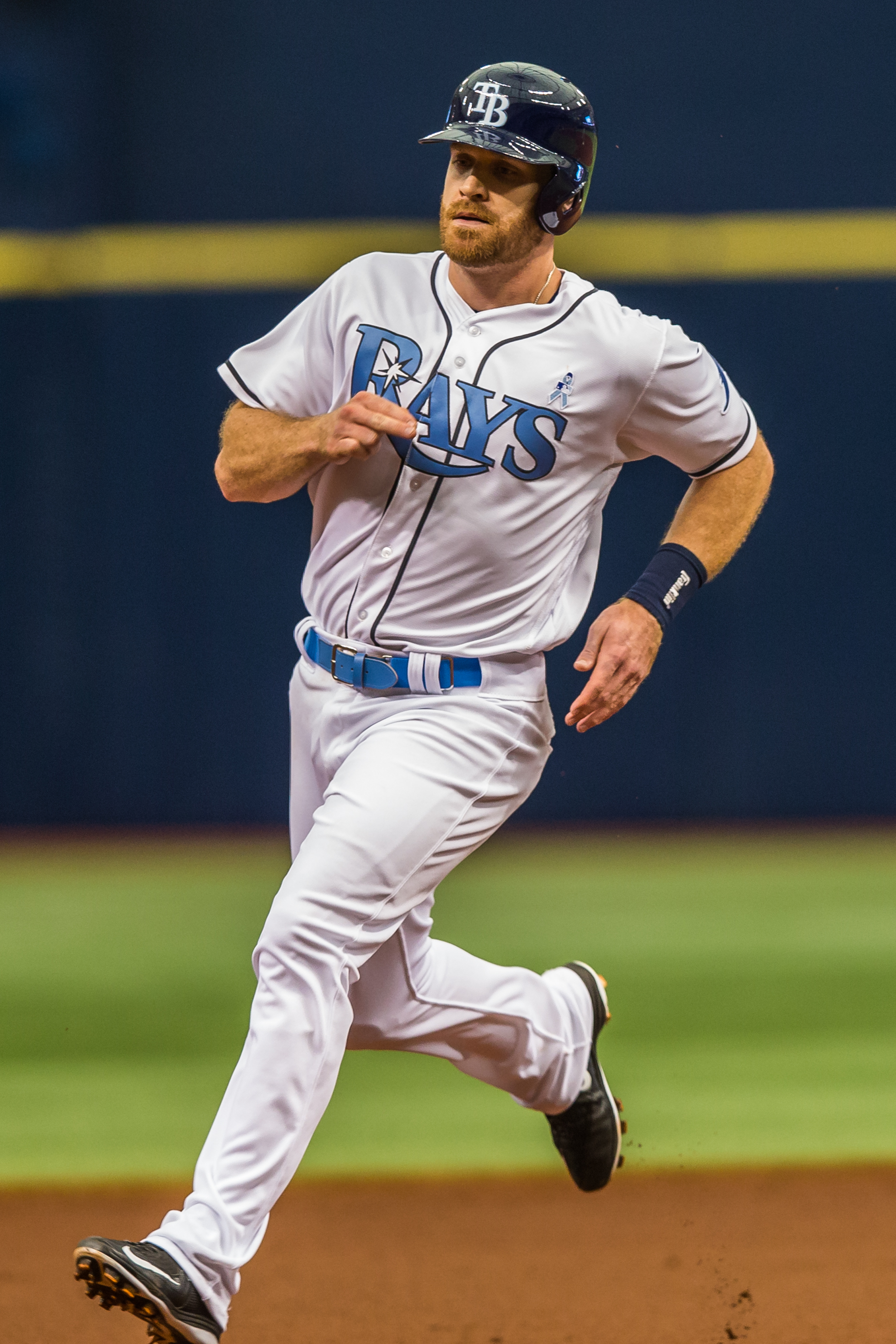 Logan Forsythe rounds second and heads for third./TRAVIS PENDERGRASS