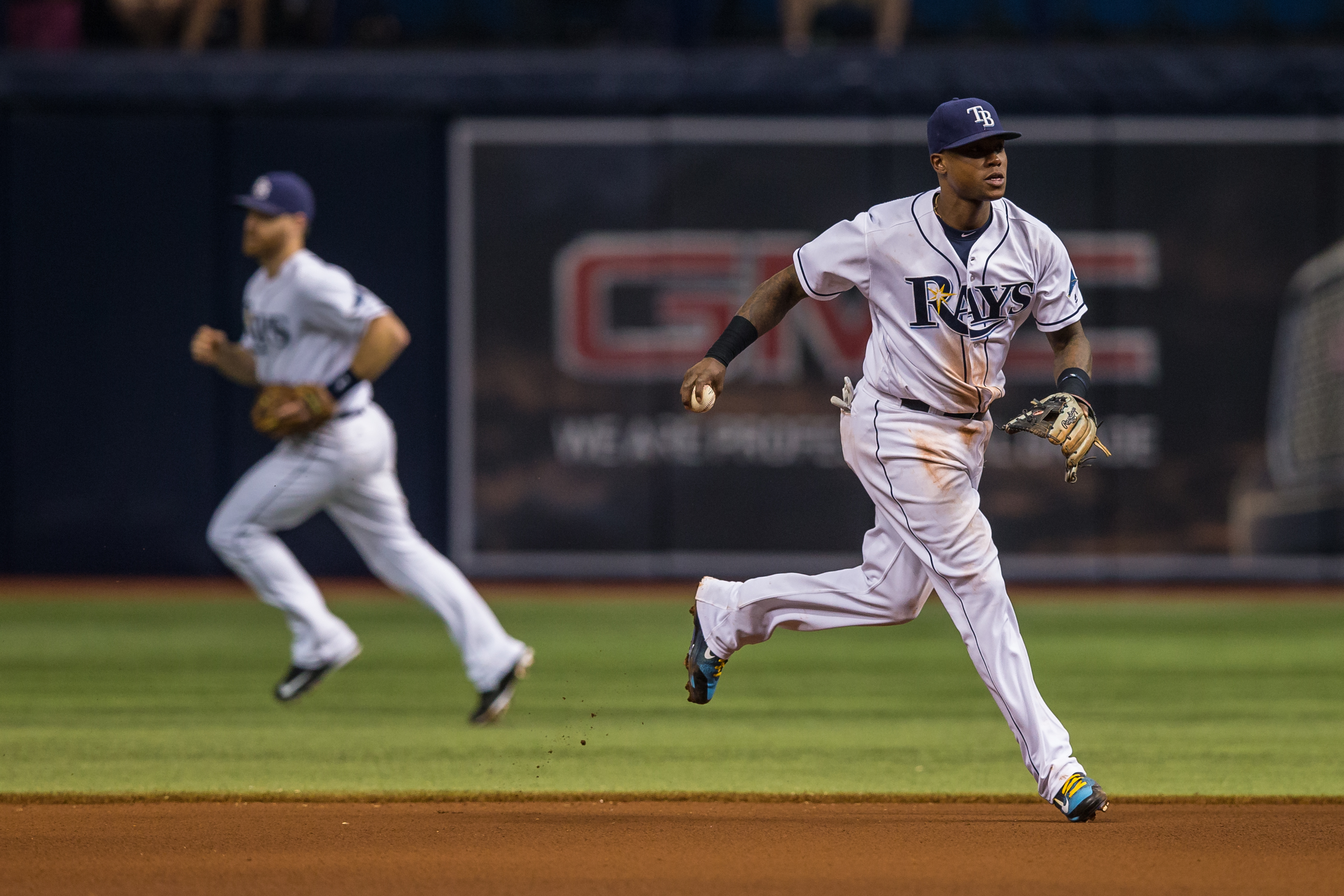 Tim Beckham fields a ground ball at short./TRAVIS PENDERGRASS