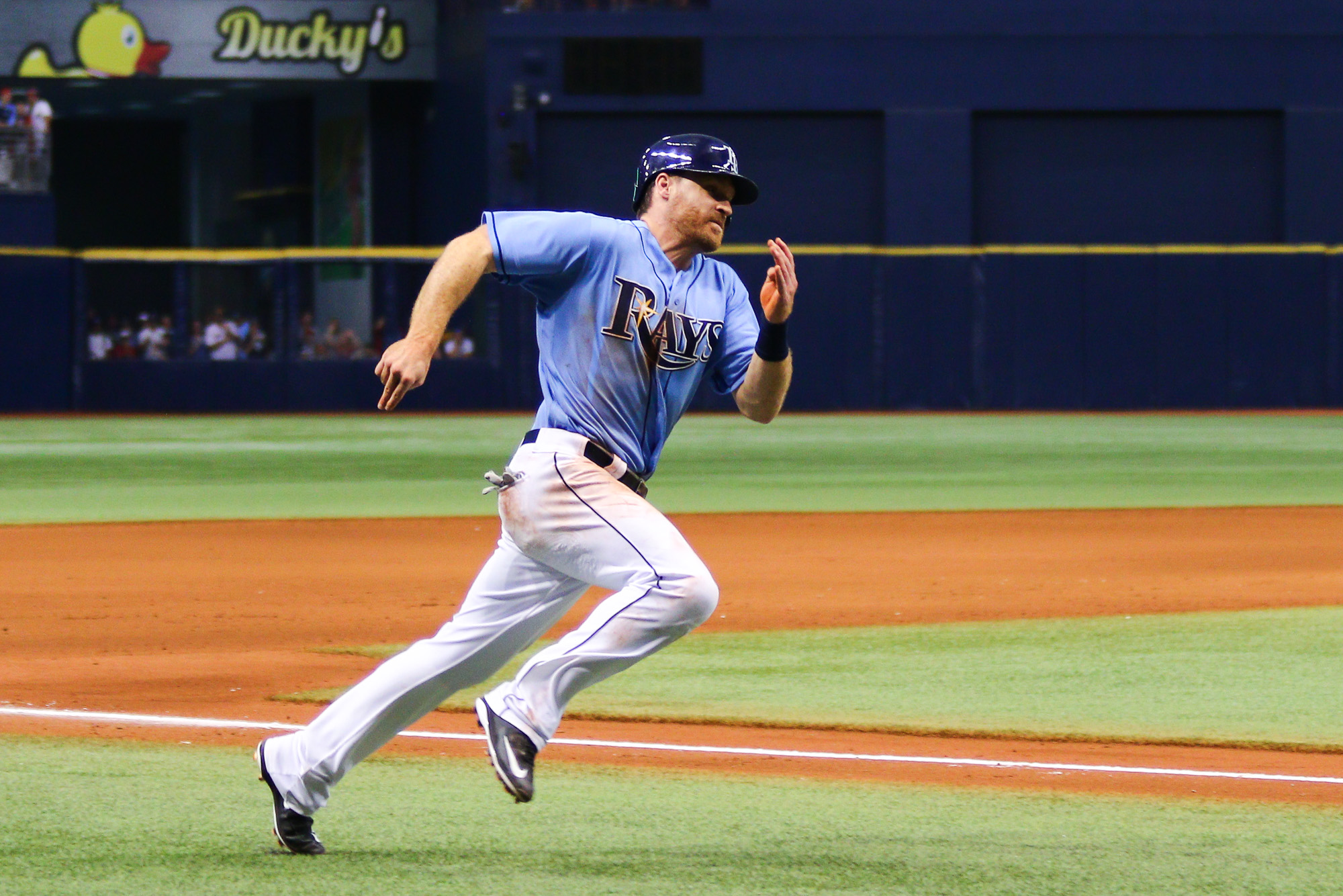Logan Forsythe heads home after Brad Miller's single in the 8th tied the game./ANDREW J. KRAMER