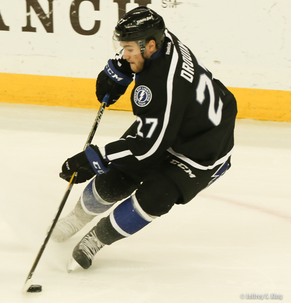 Drouin scored the Bolts' only goal in their loss to Columbus./JEFFREY S. KING