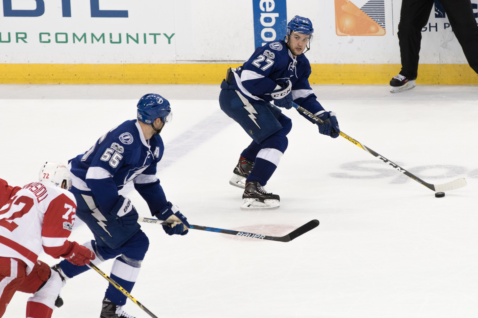 Jonathan Drouin Looks to make a pass to Coburn./Steven Muncie