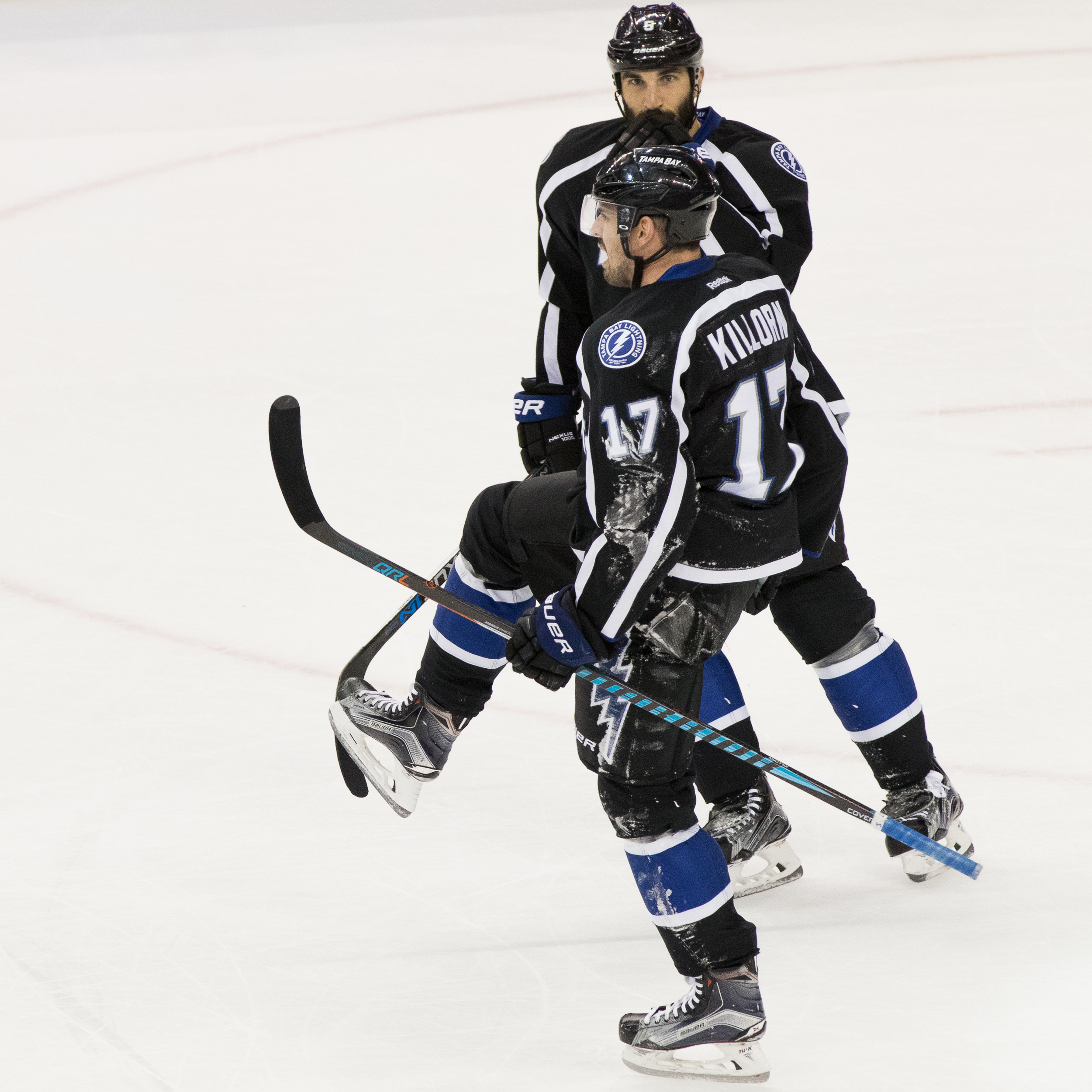 Alex Killorn celebrates after scoring to tie the game./Steven Muncie