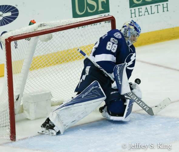 Vasilevskiy leads the NHL with seven shutouts./JEFFREY S. KING