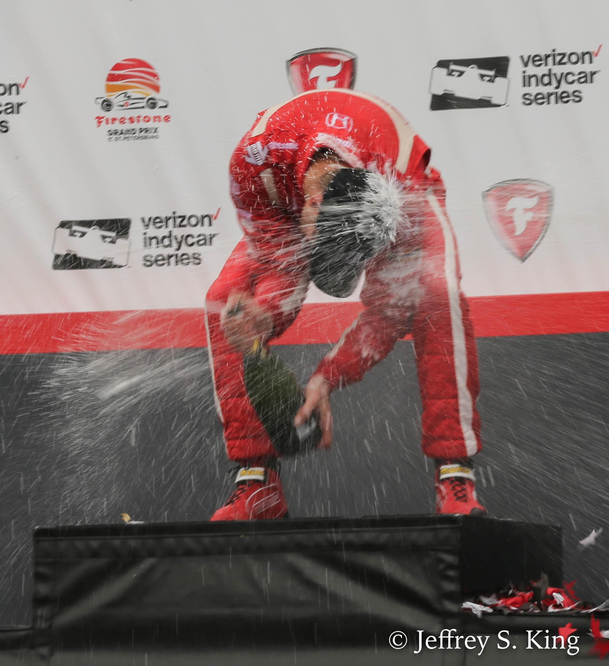 Bourdais celebrates his victory./JEFFREY S. KING