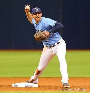 Brad Miller turns another double play./JEFFREY S. KING