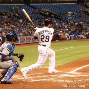 Daniel Robertson gets his first MLB hit  in the first./JEFFREY S. KING