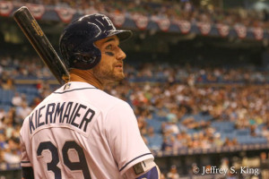 Kiermaier had three hits and scored four runs./JEFFREY KING