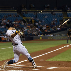 Corey Dickerson's bat explodes after hitting the ball./STEVEN MUNCIE