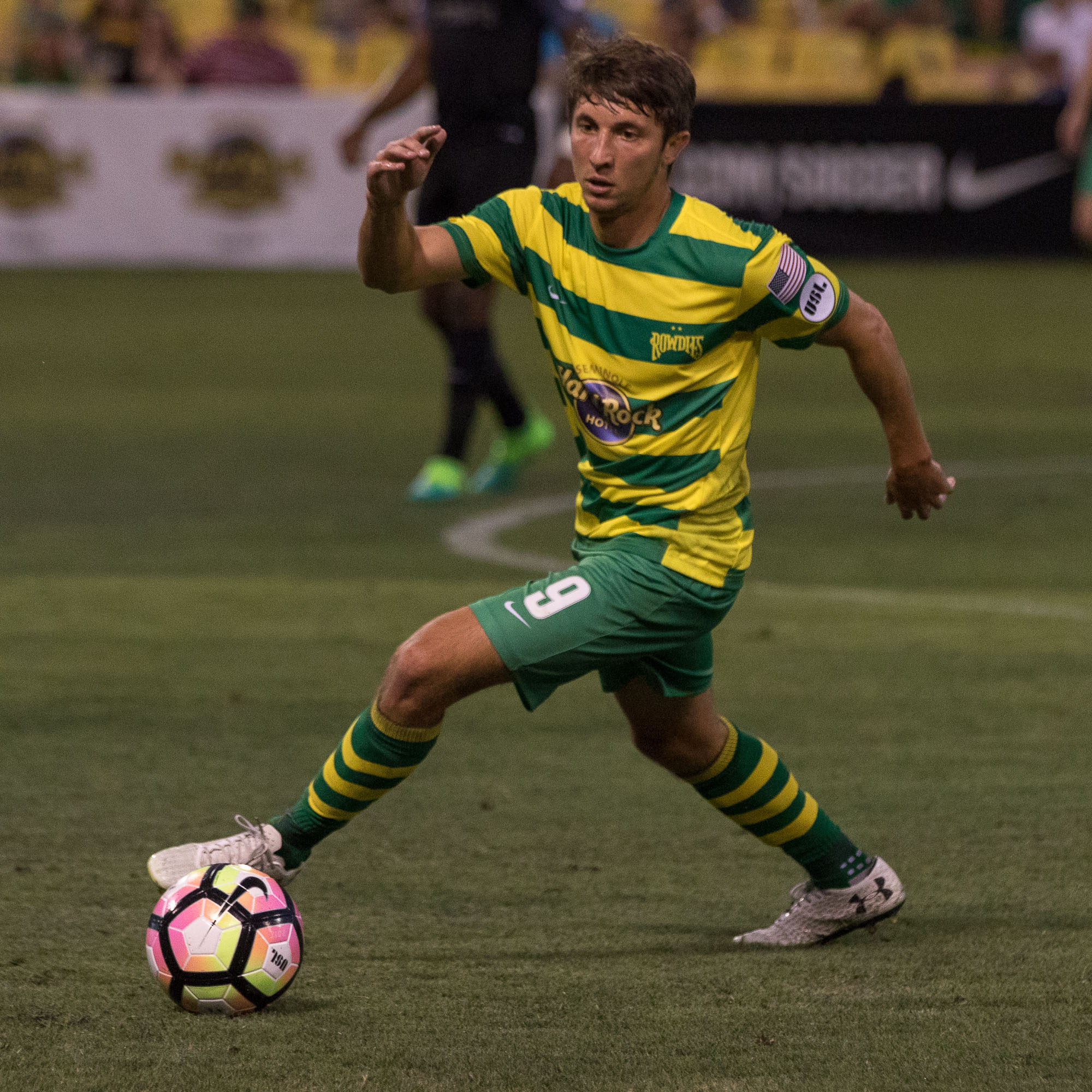 Alex Morrell moves the ball for the Rowdies../STEVEN MUNCIE