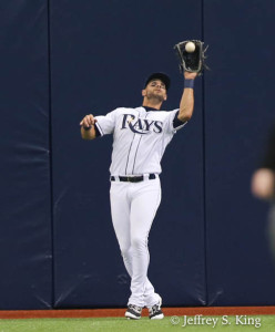 Kiermaier hauls down a fly ball in center./JEFFREU S. KING