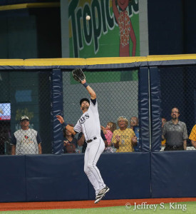 Kiermaier hauls one down in deep centerfield./JEFFREY S. KING