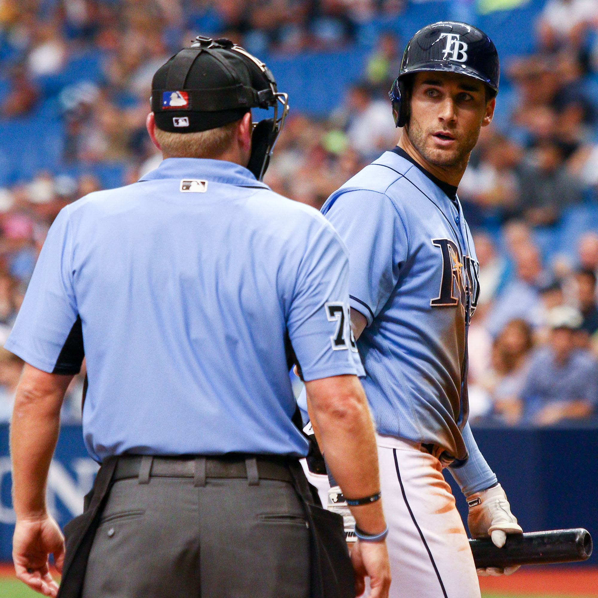 Kiermaier walks to the dugout after disagreeing with a call./ANDREW J. KRAMER