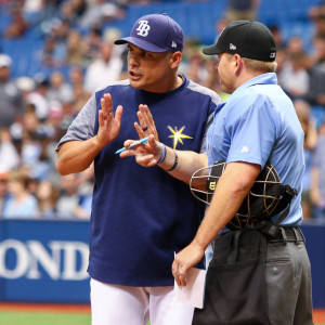 Kevin Cash argues with the umpire./ANDREW J. KRAMER