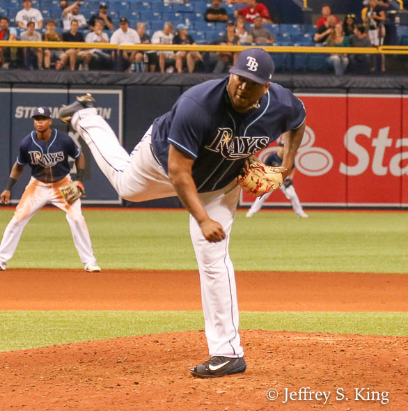 Rays' reliever Jumbo Diaz had trouble finding the plate./JEFFREY S. KING