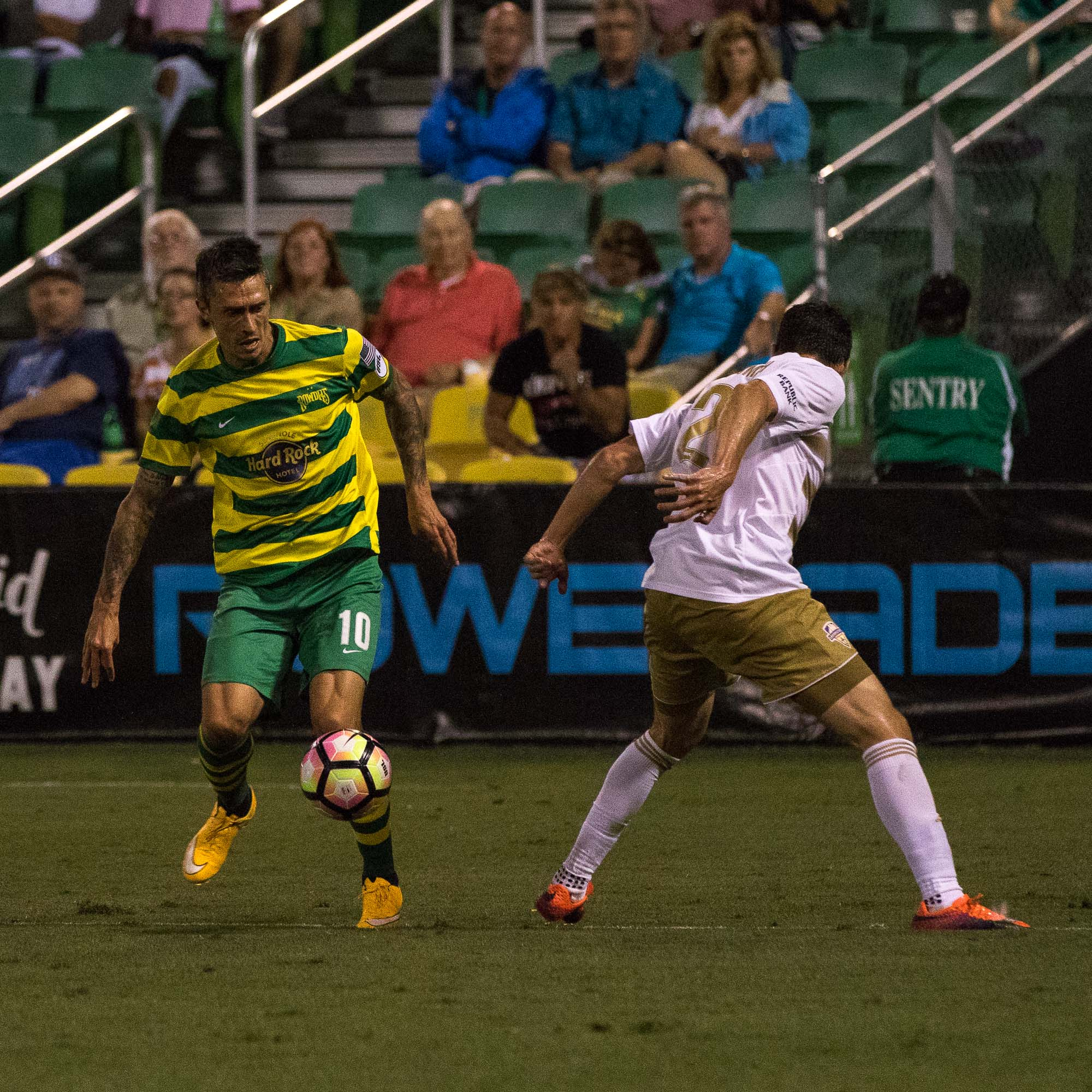 Georgi Hristov sets up the shot to score and give the Rowdies a 1-0 lead./STEVEN MUNCIE