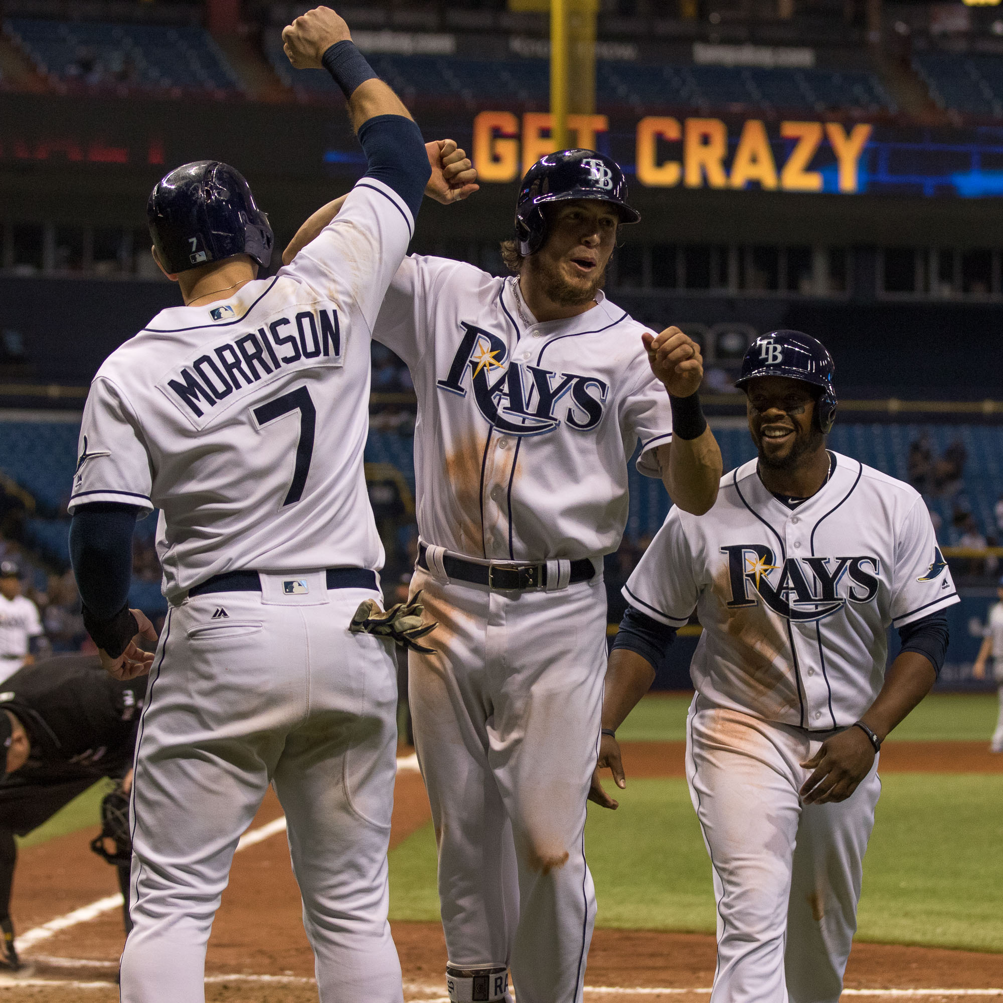 Colby Rasmus celebrates after hitting a grand slam./STEVEN MUNCIE