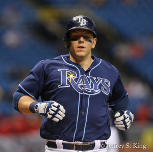 Morrison had two hits to lead the Rays./JEFFREY S. KING