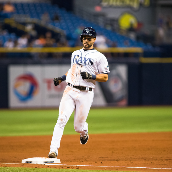 Kiermaier scored the Rays only run on a nit by Dickerson./CARMEN MANDATO