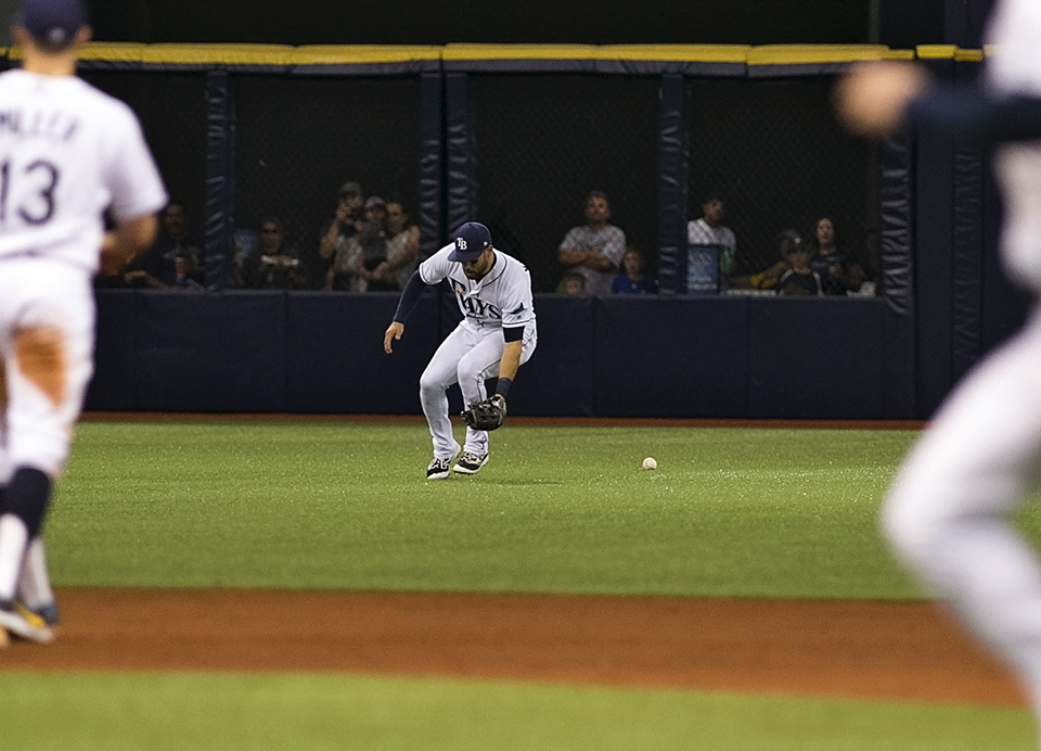Kiermaier misplayed a base hit into a three-base error/CARMEN MANDATO