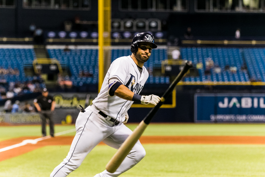 Kiermaier had two hits in  his second game back./CARMEN MANDATO