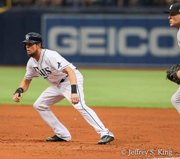 Souza tries to lead a lead off of first./JEFFREY S. KING
