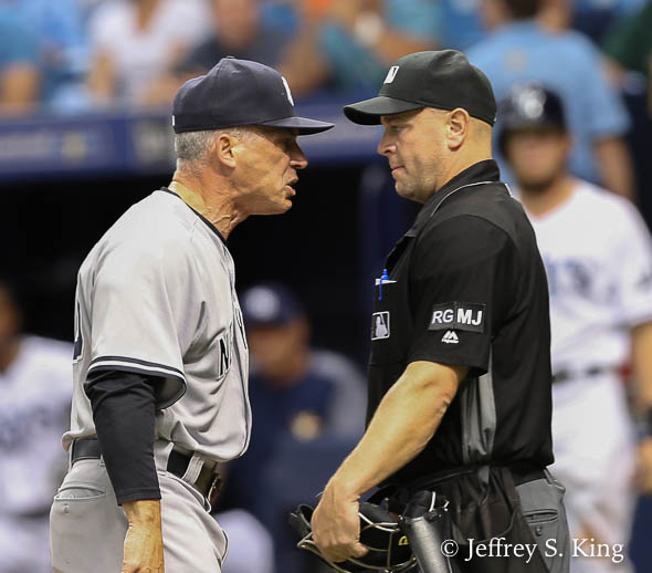 Yankee manager Joe Girardi was tossed for arguing balls and strikes./JEFFREY S . KING