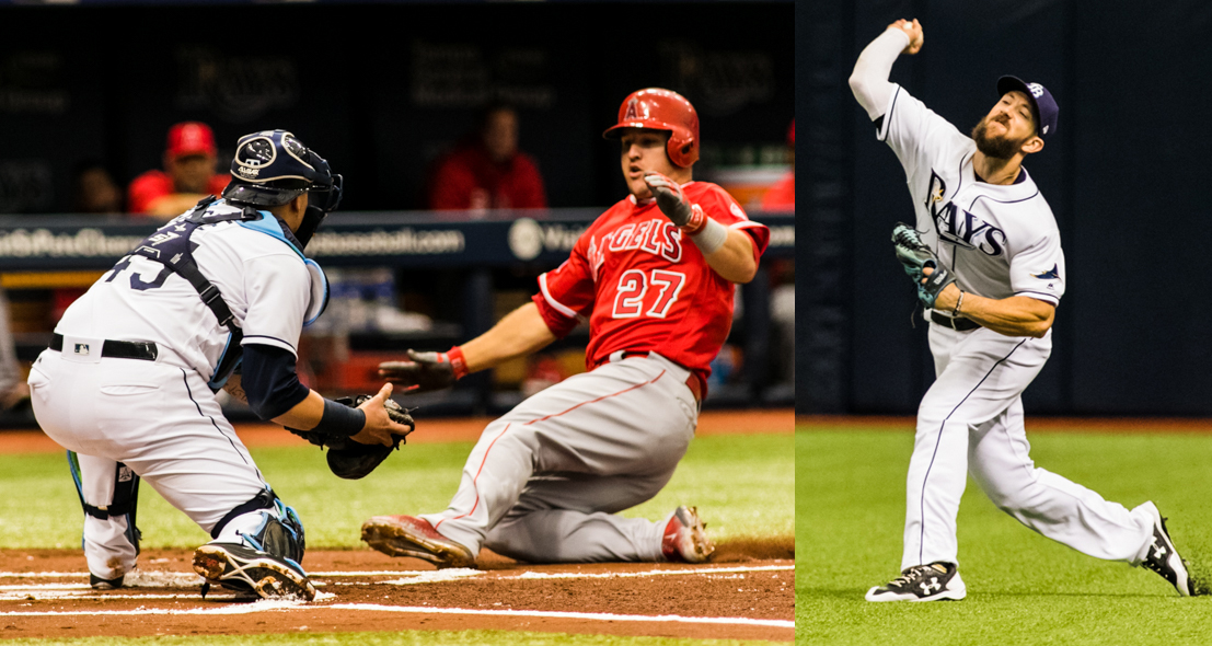 Souza (left) made a throw to the plate to get Trout (right)./CARMEN MANDATO