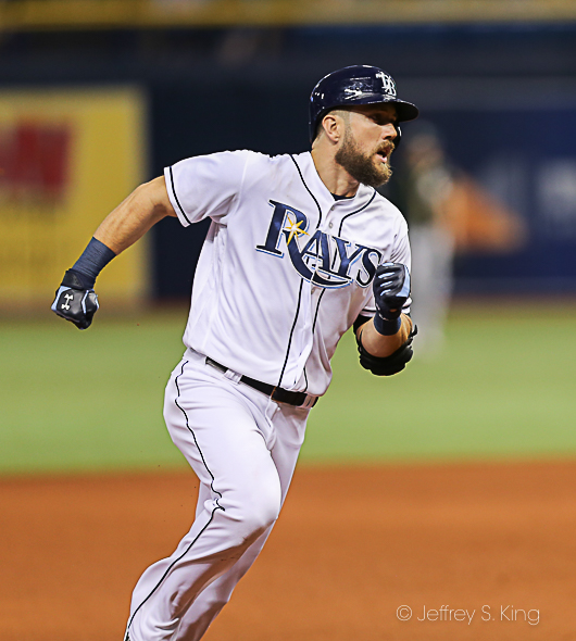 Souza Jr. had a three-run homer and a triple to lead the Rays./JEFFREY S. KING