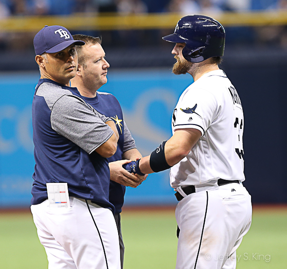 Rays check out Derek Norris after he was hit by a pitch./JEFFREY S. KING