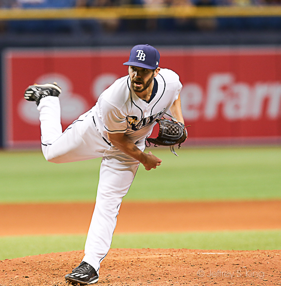 Pruitt pitched three shutout innings to help Rays./JEFFREY S. KING