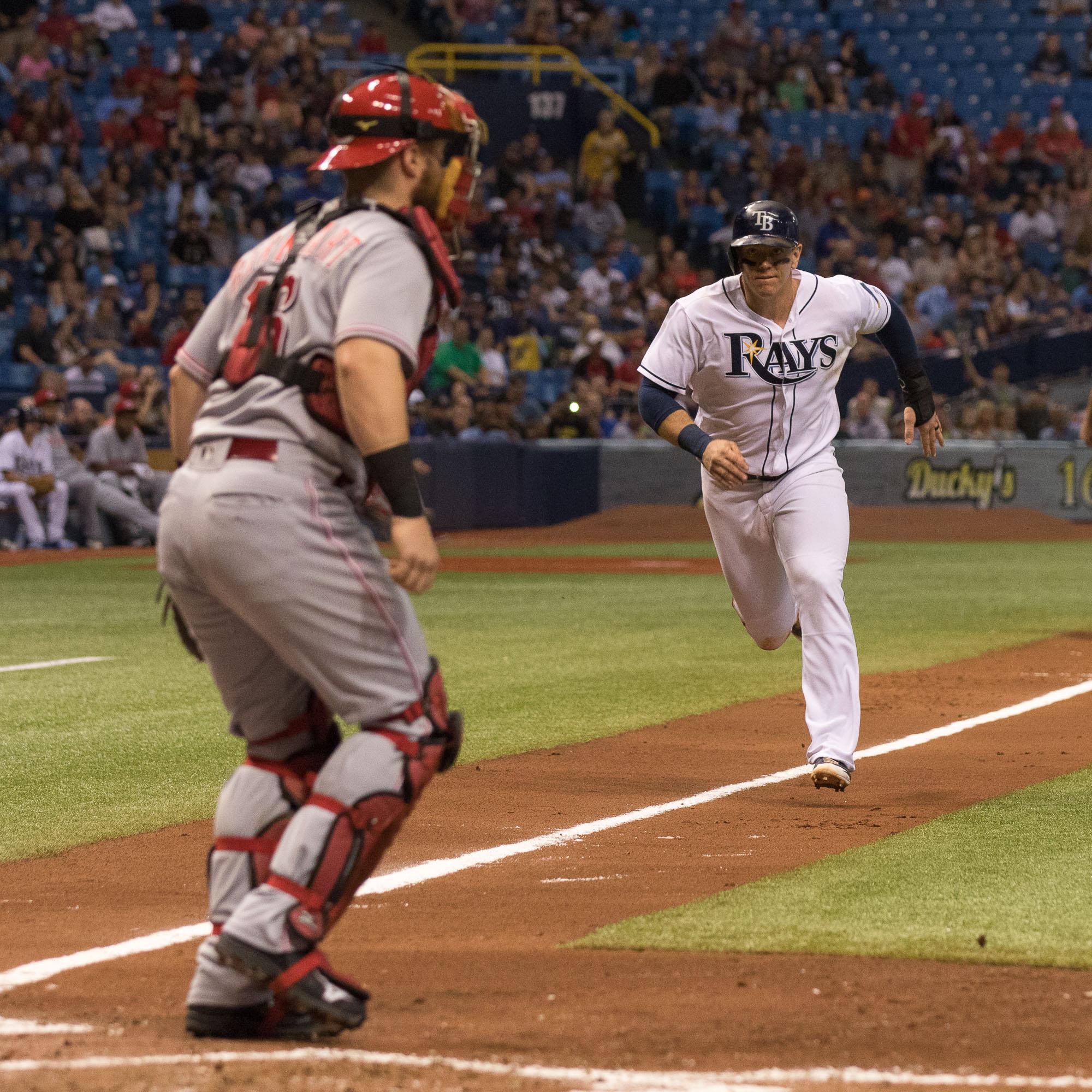 Morrison runs towards home plate./STEVEN MUNCIE