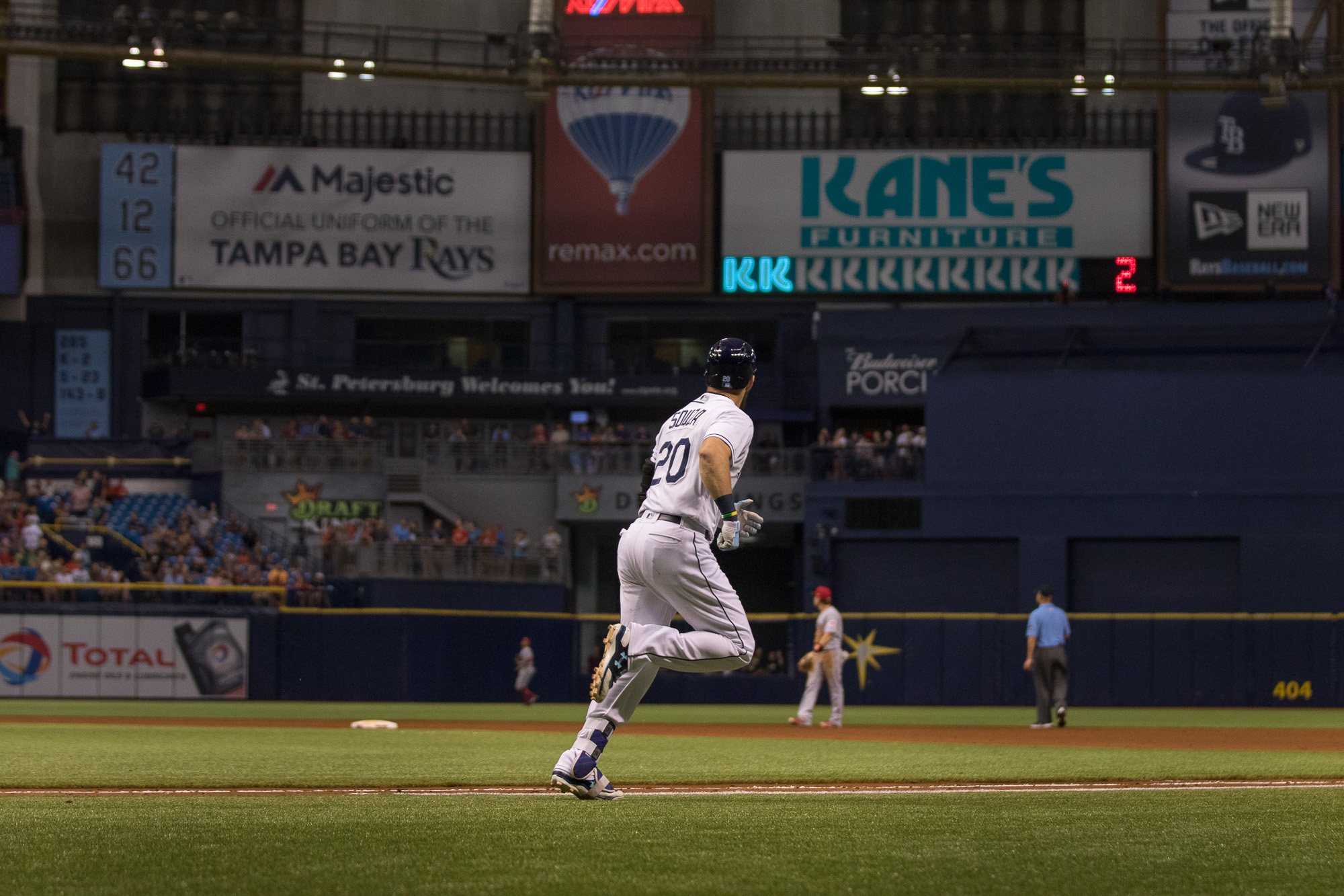 Steven Souza Jr. watches to make sure his hit was enough for a home run./STEVEN MUNCIE