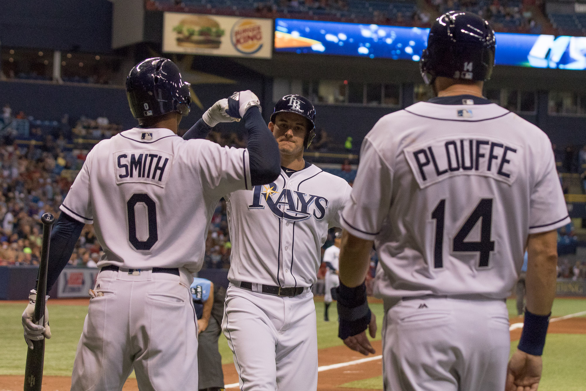 Robertson celebrates tying the game 3-3 with a homer./STEVEN MUNCIE