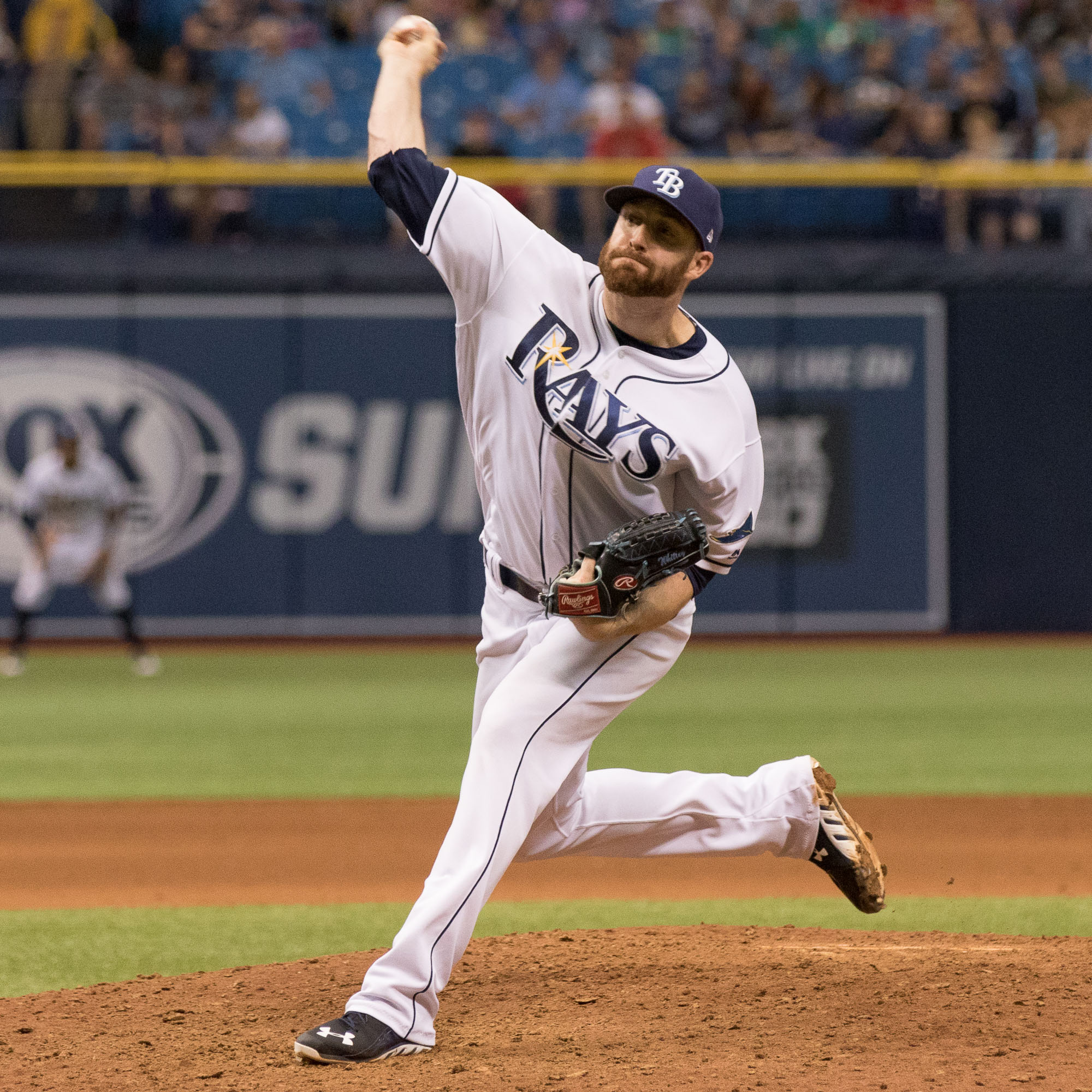 Chase Whitley finished the game for the Rays./STEVEN MUNCIE