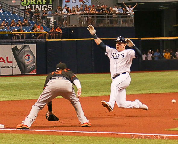 Morrison had a homer and a triple in the Rays' big win./JEFFREY S. KING